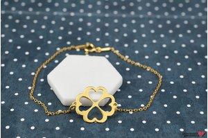 Bratara lant CLOVER HEARTS 14mm placata cu aur