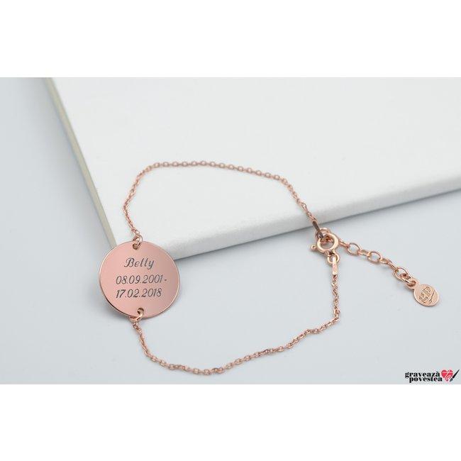 Bratara lant COIN 16.5mm TEXT placata cu aur roz