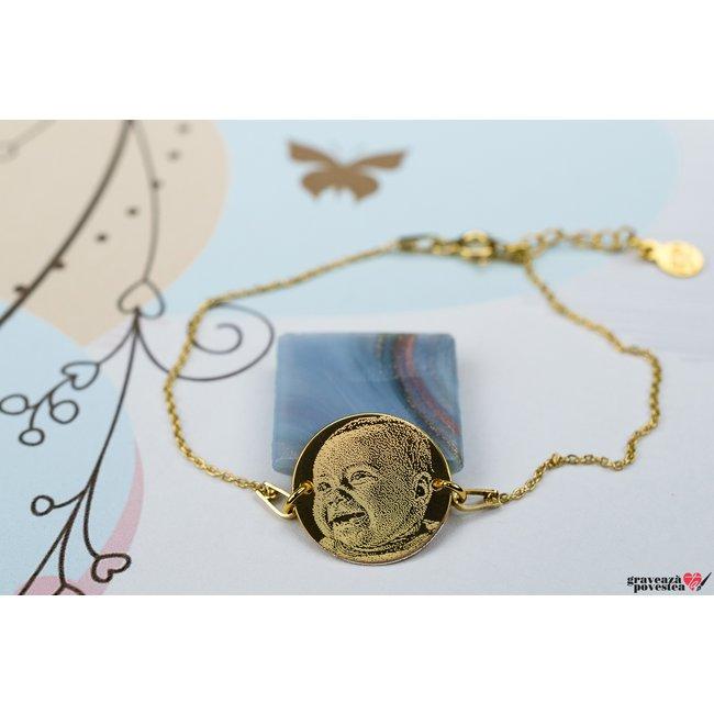 Bratara lant COIN 16.5mm FOTO placata aur