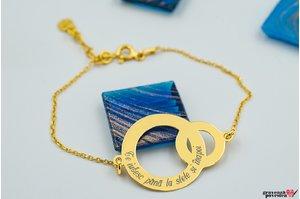 Bratara lant  CIRCLE & BABY CIRCLE 26mm TEXT placata cu aur