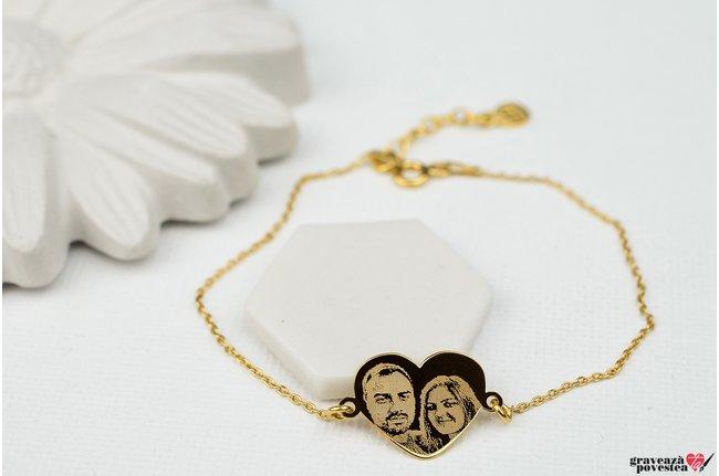 Bratara lant MY HEART 15mm FOTO placata cu aur