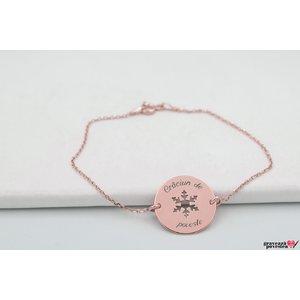 Bratara lant COIN SNOWFLAKE 17mm TEXT placata cu aur roz