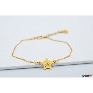 Bratara lant STAR 10mm TEXT placata cu aur