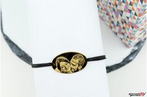 Bratara LARGE OVAL 25mm FOTO placata cu aur (snur gros)