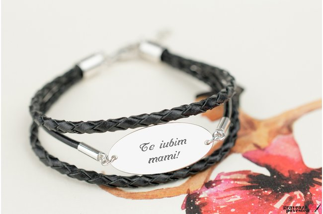Bratara LEATHER MIX LARGE OVAL 25mm TEXT