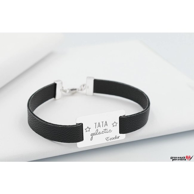 Bratara Leather Band RECTANGLE 28mm TEXT