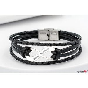 Bratara LEATHER MIX SILVER & STEEL INFINITY 30mm TEXT