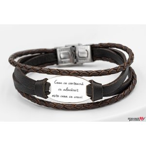Bratara LEATHER MIX SILVER & STEEL OVAL 28mm TEXT