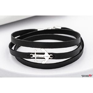 Bratara LEATHER WRAP MINI ANCHOR 20mm TEXT