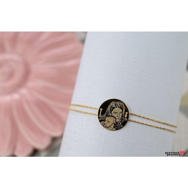 Bratara LUXURY COIN 15mm FOTO placata cu aur