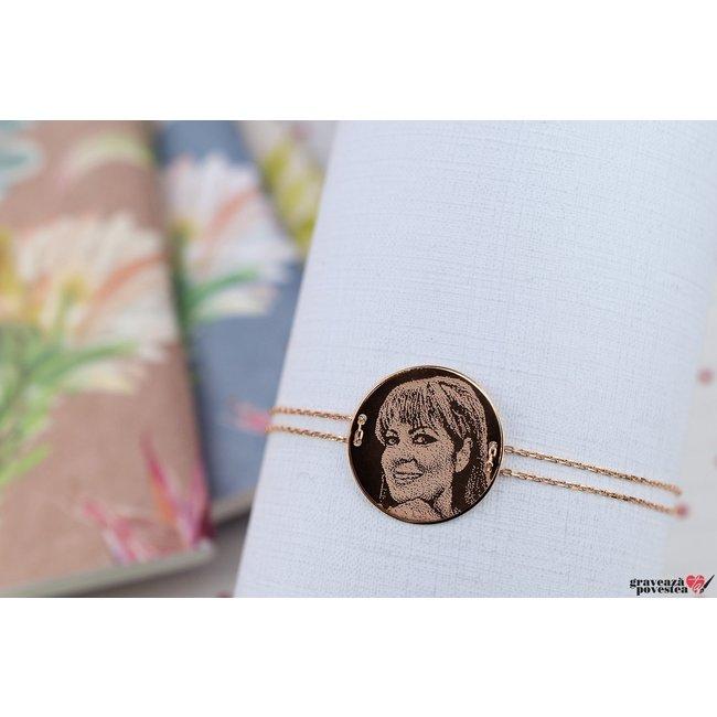 Bratara LUXURY COIN 20mm FOTO placata cu aur roz