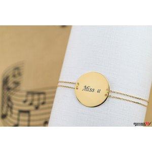 Bratara LUXURY COIN 20mm TEXT placata cu aur