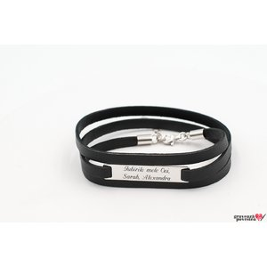 Bratara LEATHER WRAP MEGA PLATE 35mm TEXT