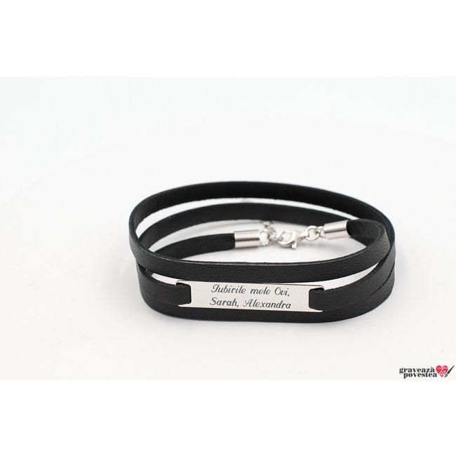 Bratara piele multistrat placuta 35 mm personalizata gravura text Argint 925 rodiat (3 straturi)