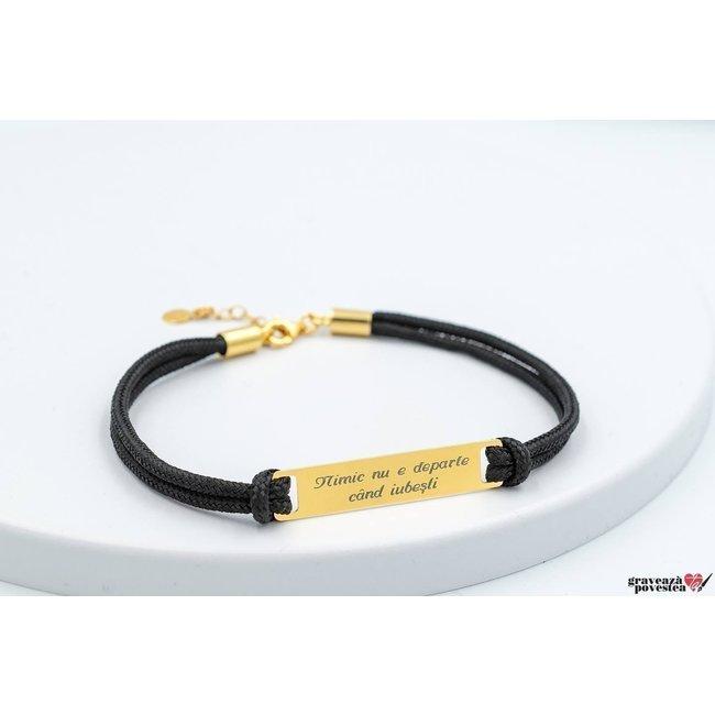Bratara MEGA PLATE 36mm TEXT placata cu aur (Snur Paracord)