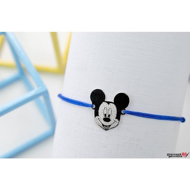 Bratara snur Mickey 16 mm personalizat gravura text Argint 925 rodiat