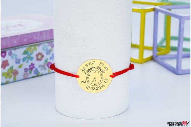 Bratara snur ceasul bebelusului banut 20 mm personalizat gravura foto Argint 925 rodiat