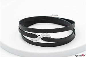 Bratara LEATHER WRAP INFINITY 30mm TEXT