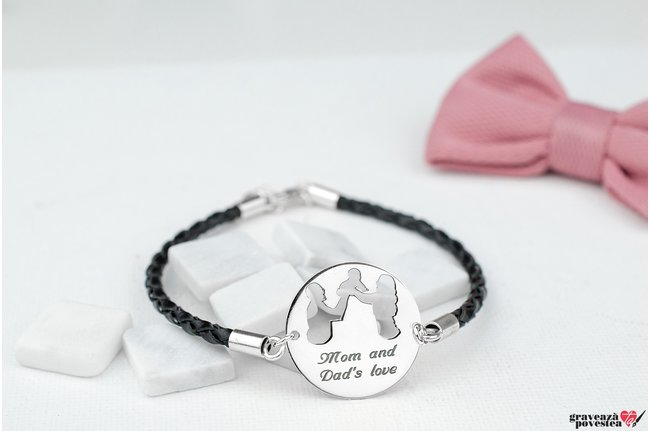Bratara LEATHER OUR FAMILY 22mm TEXT (Piele 3mm)