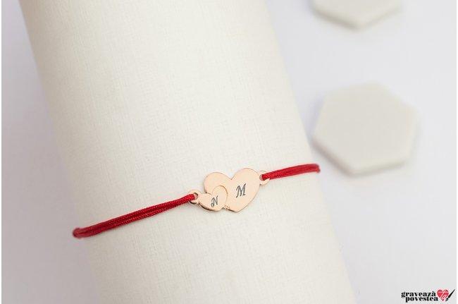 Bratara OUR HEARTS 17mm TEXT placata cu aur roz