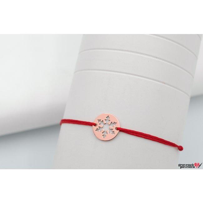 Bratara Christmas SNOWFLAKE 12mm placata cu aur roz