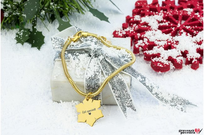 Bratara CHARMS SNOWFLAKE 20mm TEXT placata cu aur