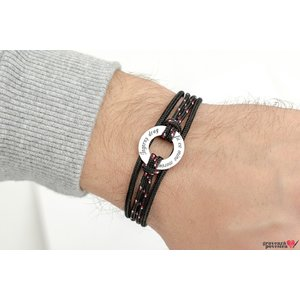 Bratara SILVER & STEEL CIRCLE 20mm TEXT (Snur Paracord)