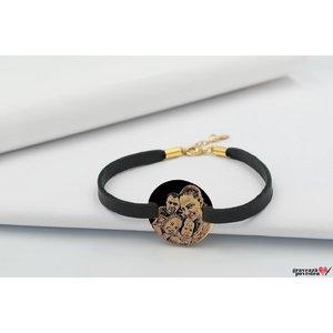 Bratara Slim Leather Band COIN 23mm FOTO placata cu aur
