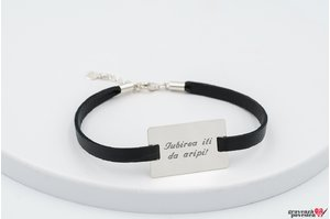 Bratara Slim Leather Band NEW RECTANGLE 28mm TEXT