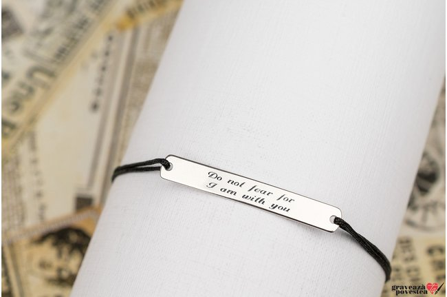 Bratara snur placuta 31 mm personalizata gravura text Argint 925 rodiat