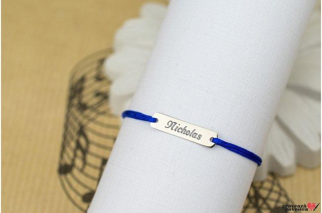 Bratara snur placuta 18 mm personalizata gravura text Argint 925 rodiat