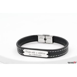 Bratara Stitched Leather SILVER & STEEL