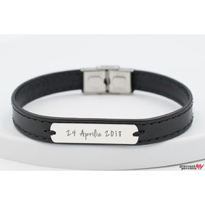 Bratara Stitched Leather SILVER & STEEL PLATE 33mm TEXT