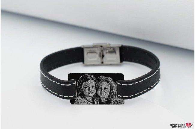Bratara Stitched Leather SILVER & STEEL RECTANGLE 28mm FOTO