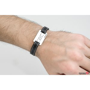 Bratara Stitched Leather SILVER & STEEL RECTANGLE 28mm TEXT