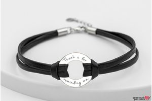 Bratara LEATHER THE CIRCLE 20mm TEXT