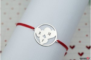 Bratara TRIO HEARTS CIRCLE 19mm TEXT
