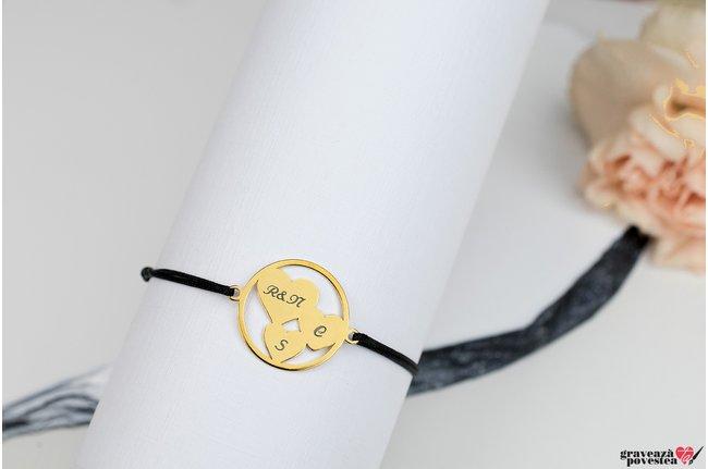 Bratara TRIO HEARTS CIRCLE 19mm TEXT placata cu aur