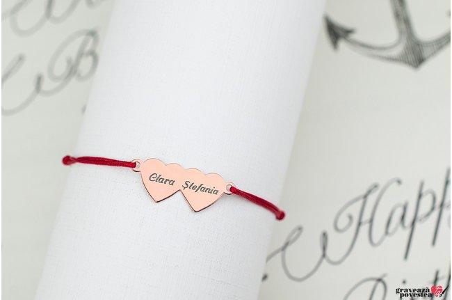 Bratara TWO HEARTS 20mm TEXT placata cu aur roz