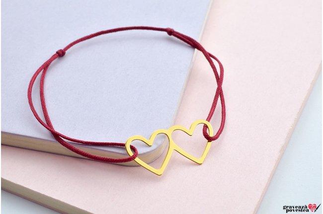 Bratara TWO HEARTS 24mm placata cu aur