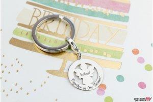 Breloc banut ingeras 22 mm personalizat gravura text Argint 925 rodiat