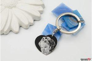 Breloc inima 24 mm personalizata gravura foto Argint 925 rodiat