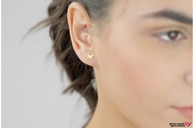 Cercei BUTTERFLY 6 mm placati cu aur