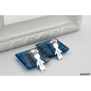 Cercei cu doua fete LITTLE PERSON 15mm TEXT
