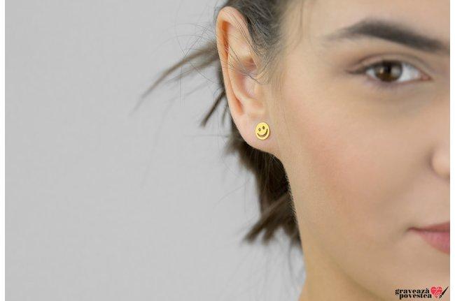 Cercei SMILEY 7mm placati cu aur