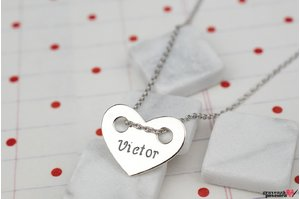 Colier THE HEART 15mm TEXT