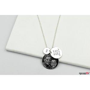Colier trei banuti personalizati gravura foto Argint 925 rodiat (lant Beads)