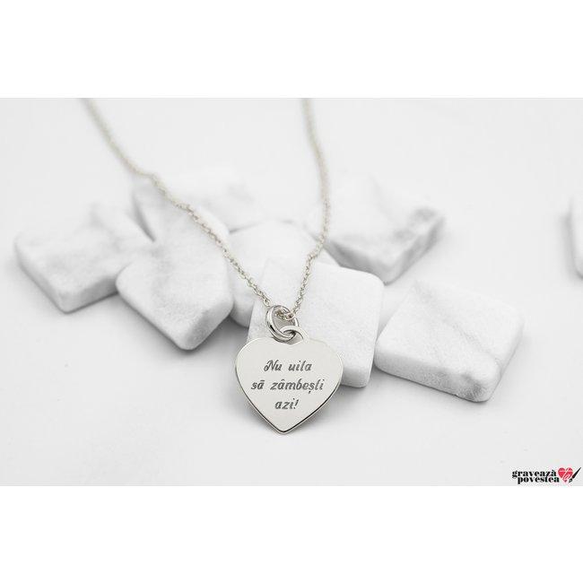 Colier inima 12 mm personalizata gravura text Argint 925 rodiat
