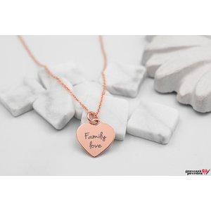 Colier CHARM HEART 12mm TEXT placat aur roz