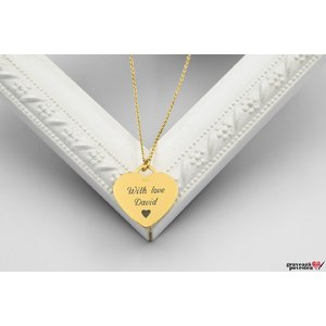 Colier CHARM HEART 20mm TEXT placat aur